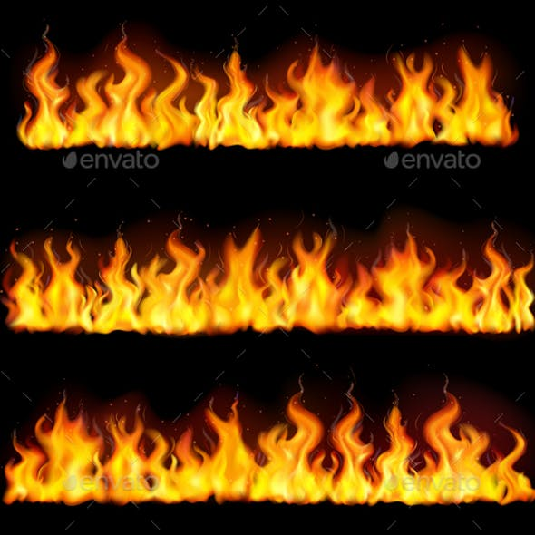Realistic Fire Flame Borders Icon Set