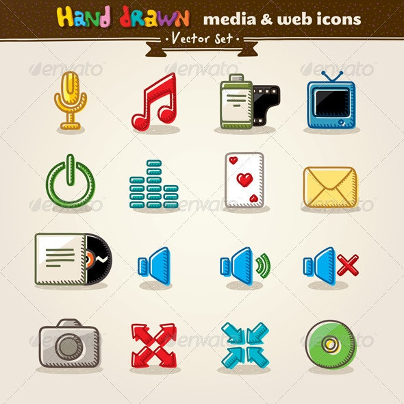 Hand Drawn Media And Entertainment Web Icons - Media Technology