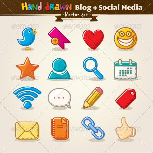 Vector Hand Draw Blog And Social Media Icon Set - Web Elements Vectors