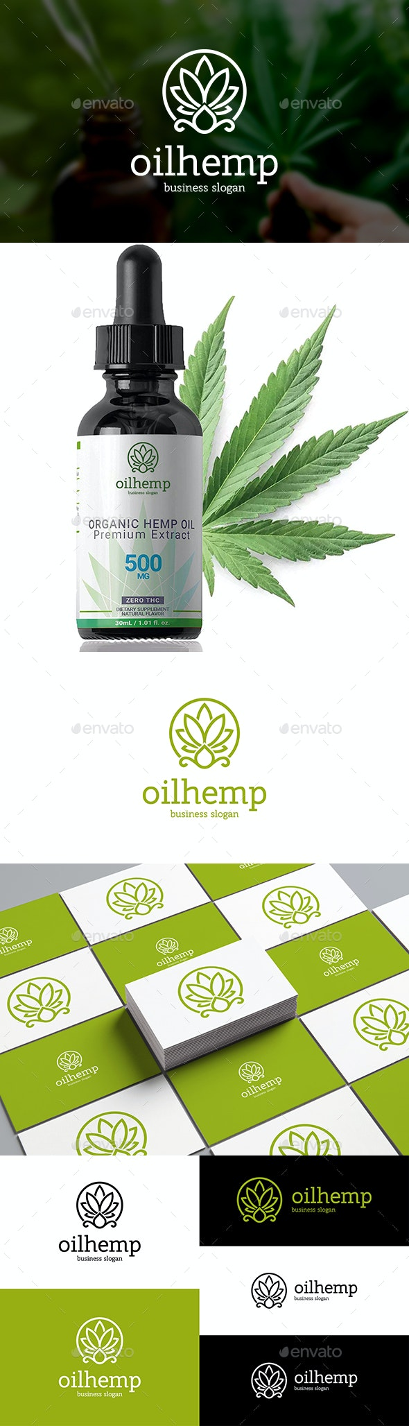 Cannabis Oil Logo Hemp Marijuana Leaf and Drop - Nature Logo Templates