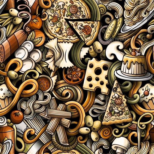 Cartoon Doodles Hand Drawn Italian Food