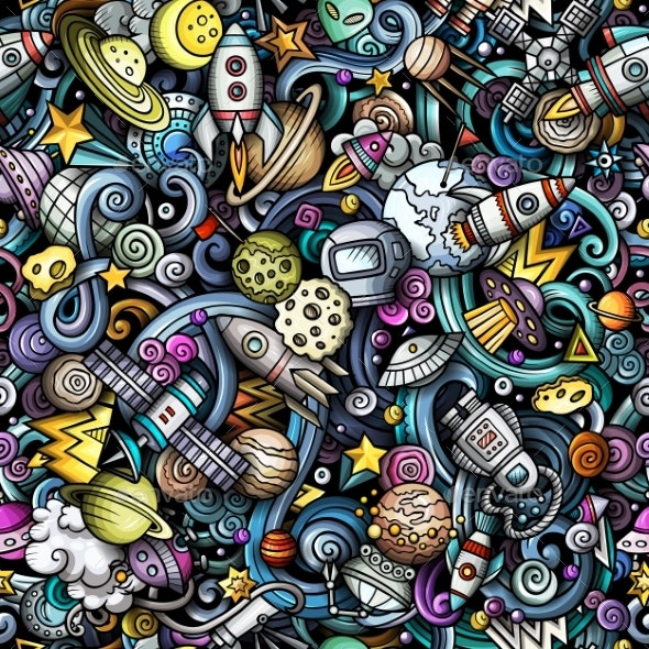 Cartoon Doodles Space Seamless Pattern - Miscellaneous Vectors