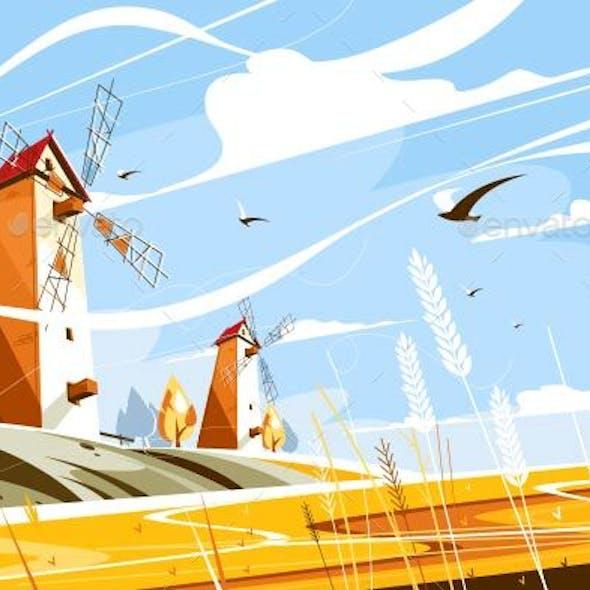 Windmill Near Wheat Field