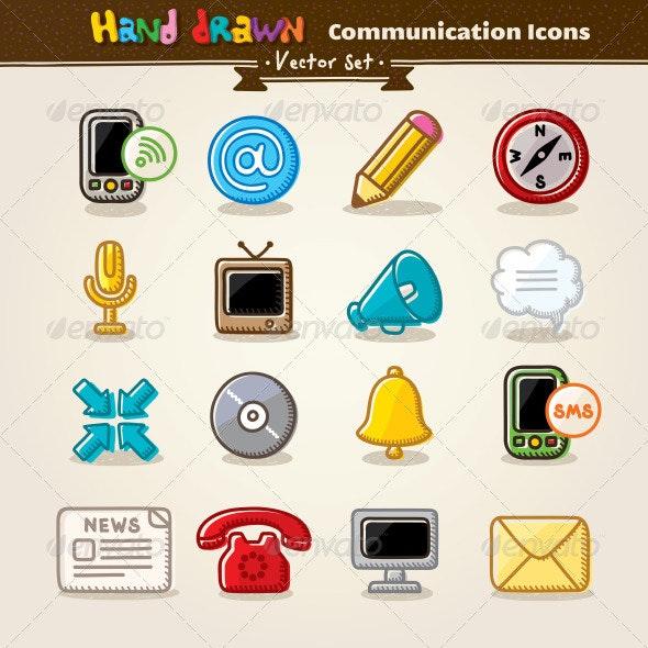 Vector Hand Draw Communication Icon Set - Communications Technology