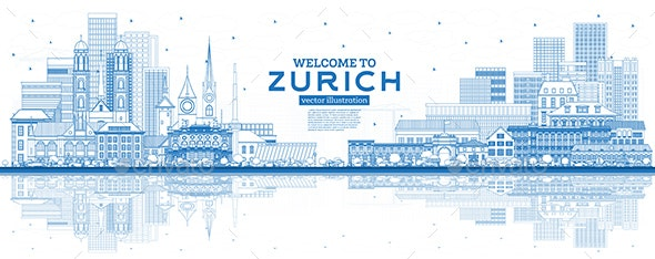 Outline Welcome to Zurich Switzerland Skyline with Blue Buildings and Reflections. - Buildings Objects