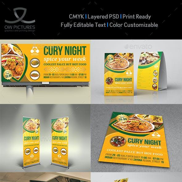 Indian Restaurant Advertising Bundle Template