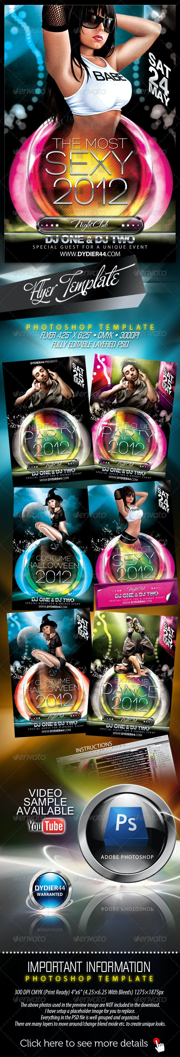 Night Club Party 2012 (Flyer Template 4x6) - Clubs & Parties Events