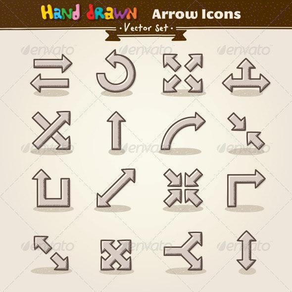 Vector Hand Draw Arrow Icon Set - Web Elements Vectors