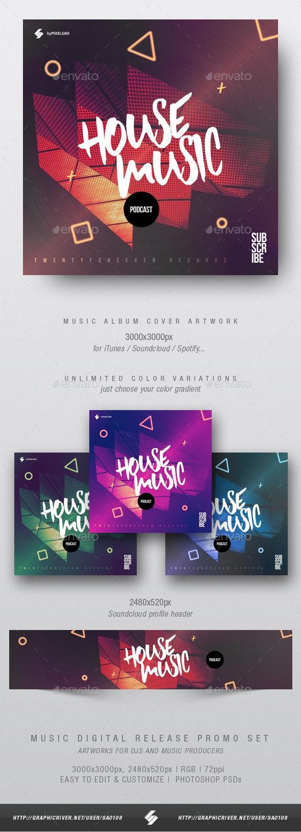 House Music Podcast - Album Cover Artwork Template - Miscellaneous Social Media
