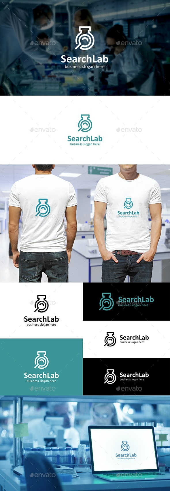 Search Lab Logo - Test Tube and Magnifying Glass Outline - Symbols Logo Templates