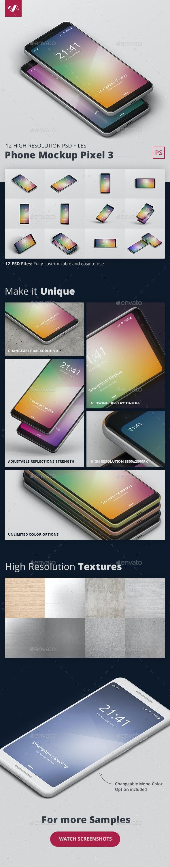 Smart Phone Mockup Pixel 3 - Mobile Displays