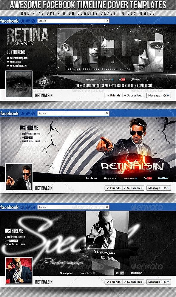 Facebook Timeline Covers - 3in1 - Social Media Web Elements