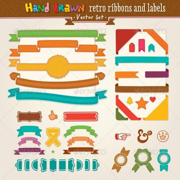 Vector Hand Draw Set Of Retro Ribbons And Labels - Decorative Vectors