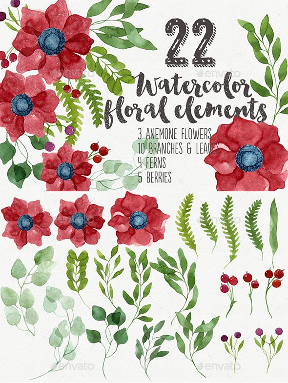 Red Anemones and Branches Set - Nature Backgrounds