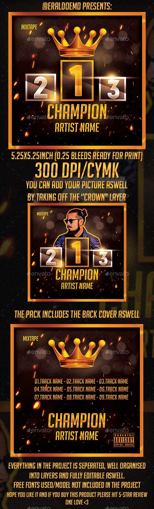 Champion Mixtape/Album Cd Cover - CD & DVD Artwork Print Templates
