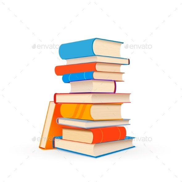 Stack of Colorful Textbooks Isolated on White - Man-made Objects Objects