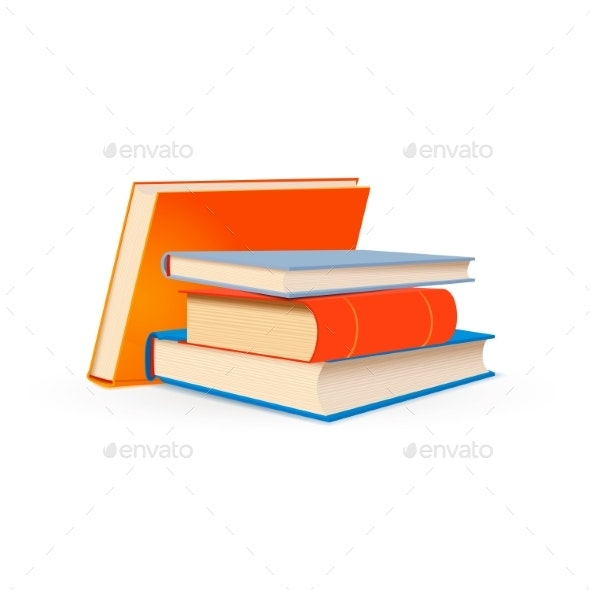 Stack of Bright School Textbooks Isolated on White - Man-made Objects Objects