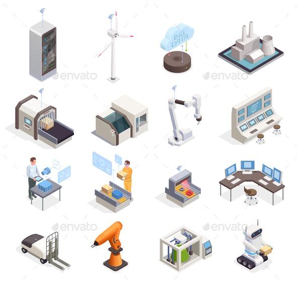 Smart Industry Isometric Set - Computers Technology
