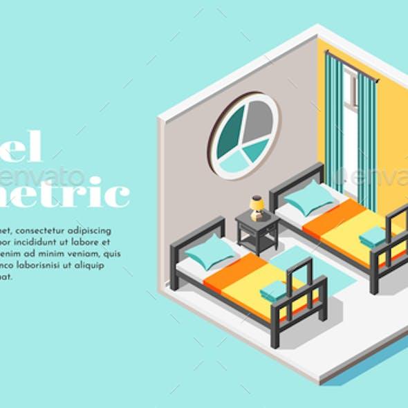 Hostel Room Isometric Background