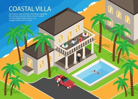 Coastal Villa Horizontal Illustration - Buildings Objects