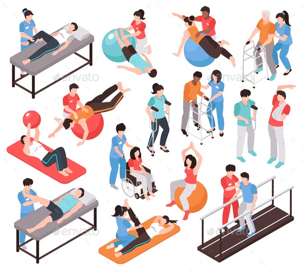 Isometric Rehab People Icons - Sports/Activity Conceptual