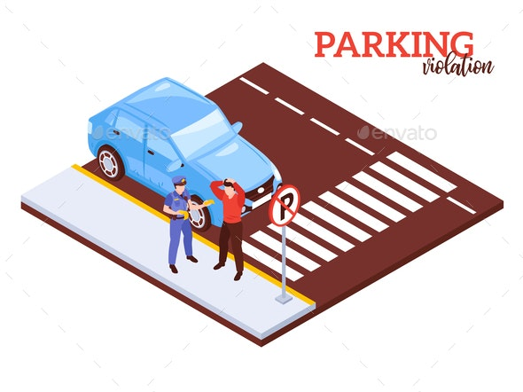 Parking Prohibited Isometric Composition - Miscellaneous Vectors