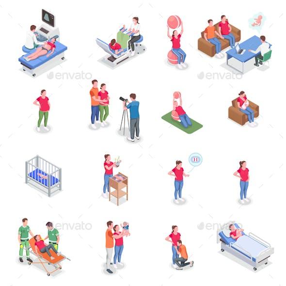 Pregnancy Icons Isometric Set