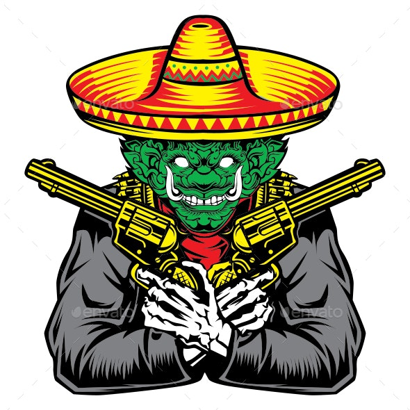 Giant Gun Hat Green Red Yellow Vector - Miscellaneous Characters