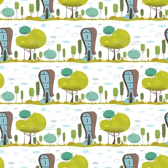 Rustic House in Countryside Craft Seamless Pattern - Miscellaneous Vectors