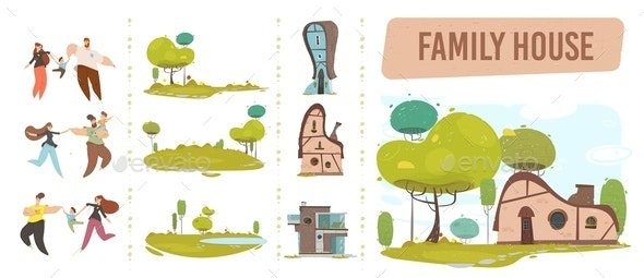 Family House, Happy People and Nature Craft Set - People Characters