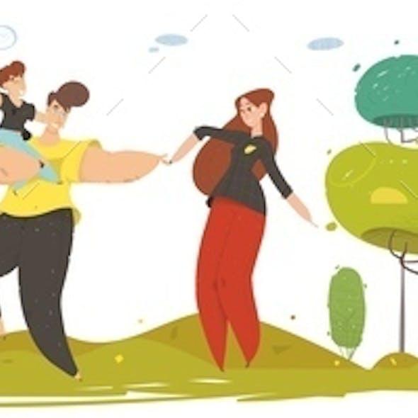 Happy Craft Family Walking on Nature Flat Cartoon