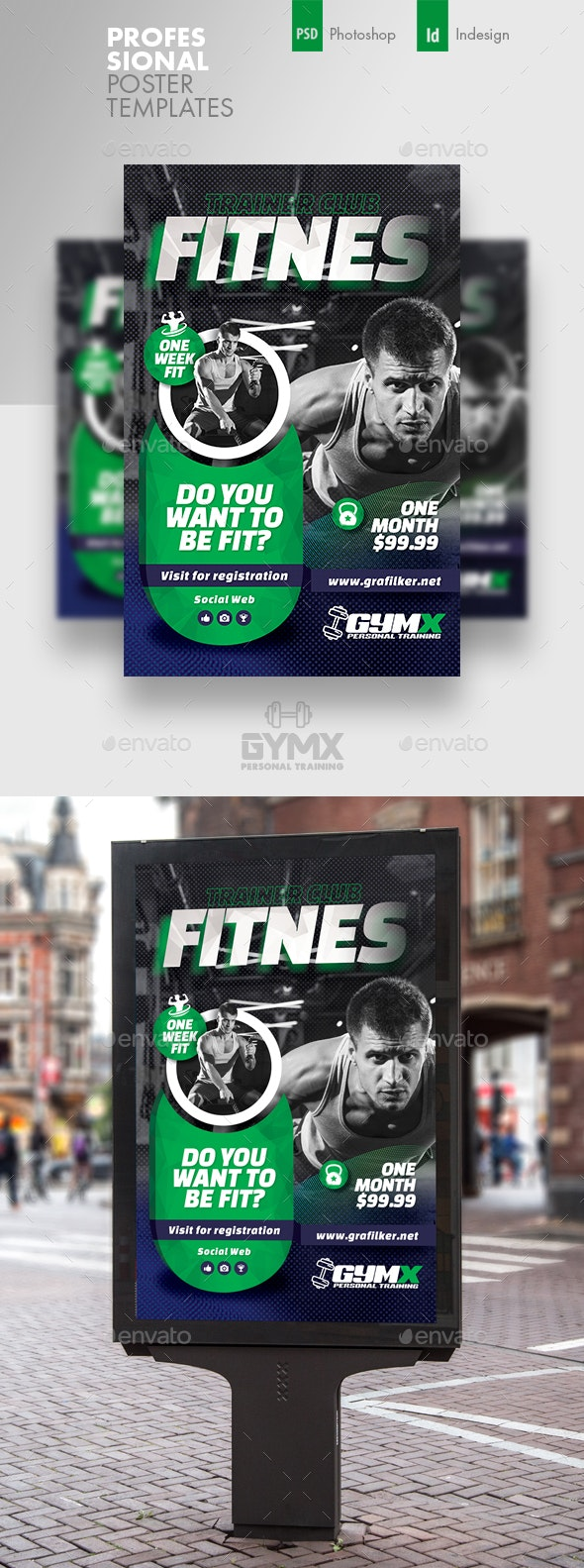 Fitness Trainer Poster Templates - Signage Print Templates