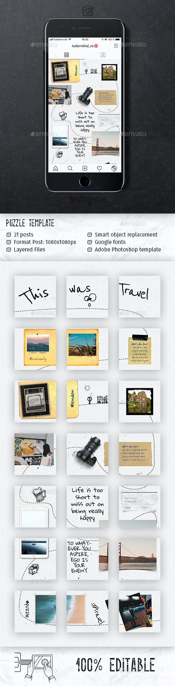 Travel - Instagram Puzzle - Social Media Web Elements