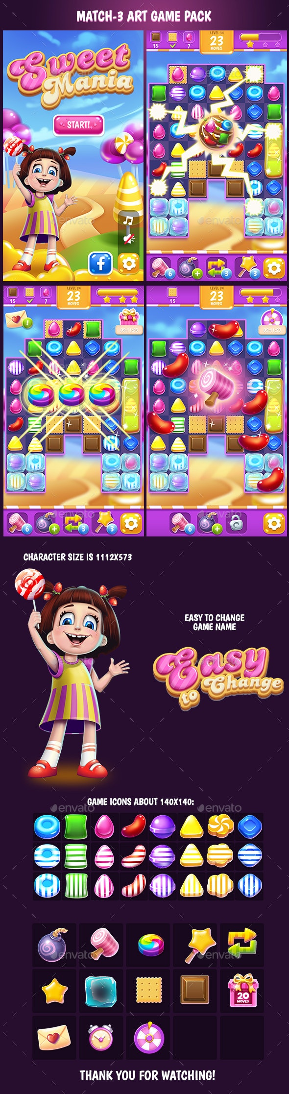 Candy Match 3 Small Game Art Pack - Game Kits Game Assets