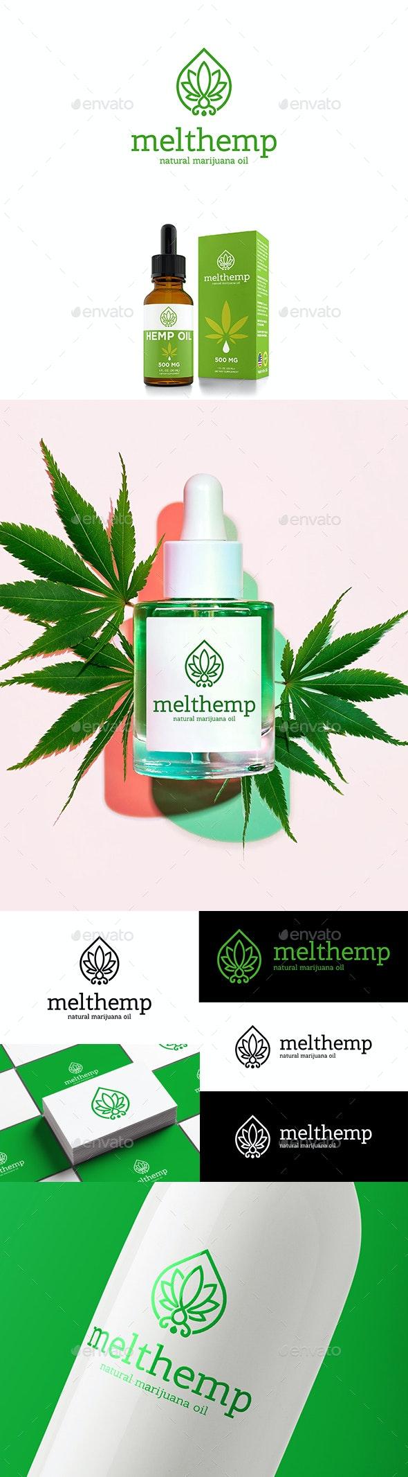 Melt Hemp Natural Marijuana Oil Logo Cannabis Leaf and Drop - Nature Logo Templates