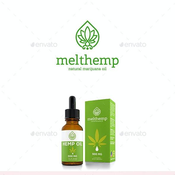 Melt Hemp Natural Marijuana Oil Logo Cannabis Leaf and Drop