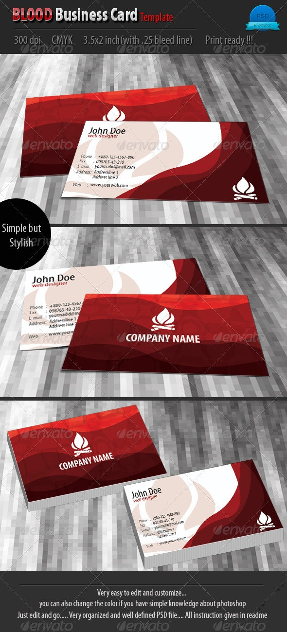 Blood Business Card Template - Corporate Business Cards