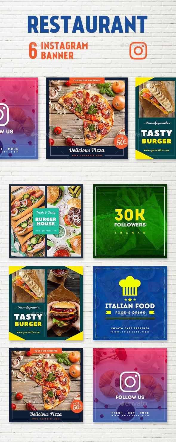 Restaurant Instagram Banners - Social Media Web Elements