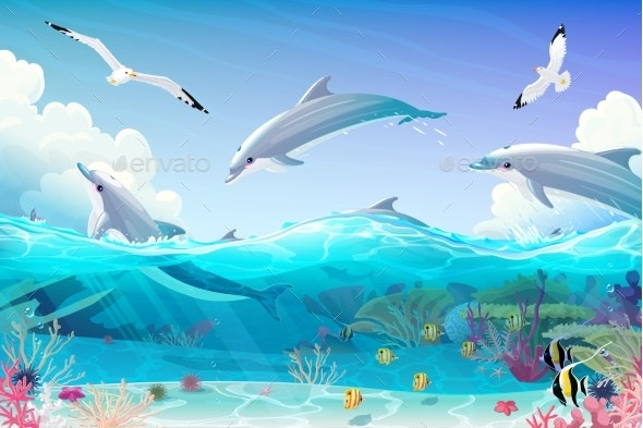 Vector Cartoon Underwater Sea Clipart - Animals Characters