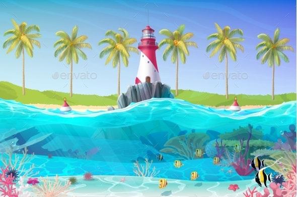 Vector Cartoon Lighthouse Sea Clipart - Buildings Objects
