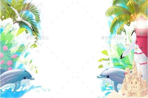 Vector Sea Border Background - Backgrounds Decorative