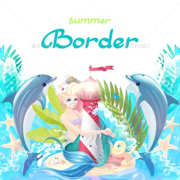 Vector Cartoon Sea Border Background