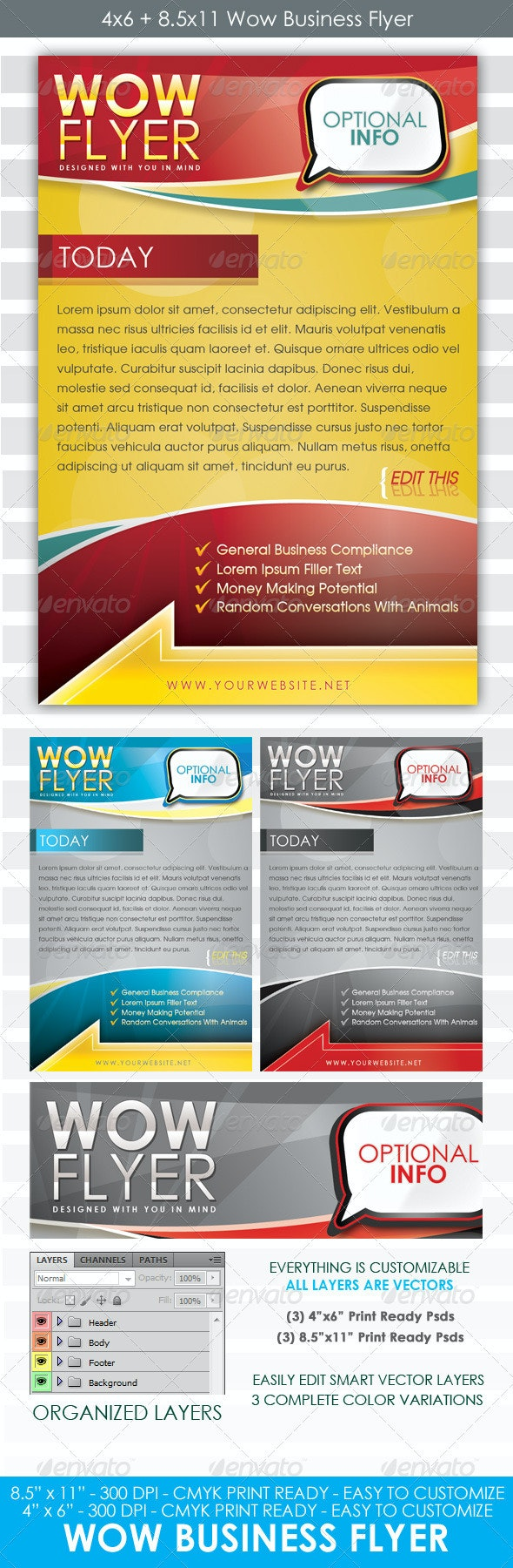 Wow Flyer 4x6 and 8.5x11 Business Template - Clubs & Parties Events