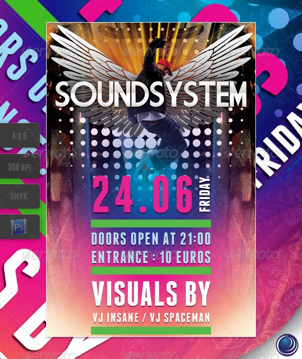 Music Wings Flyer Template - Clubs & Parties Events
