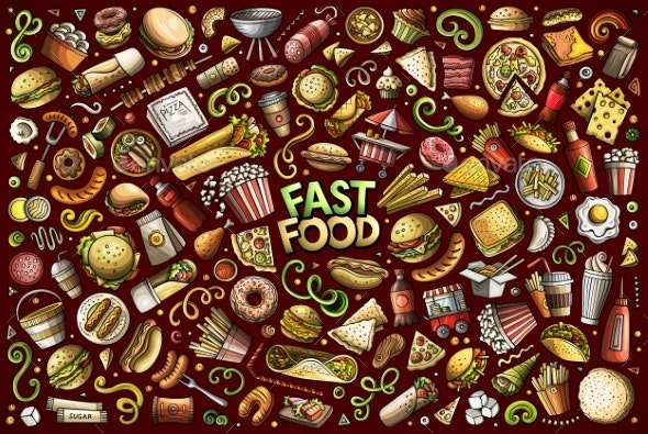 Vector Set of Fast Food Objects and Symbols - Food Objects
