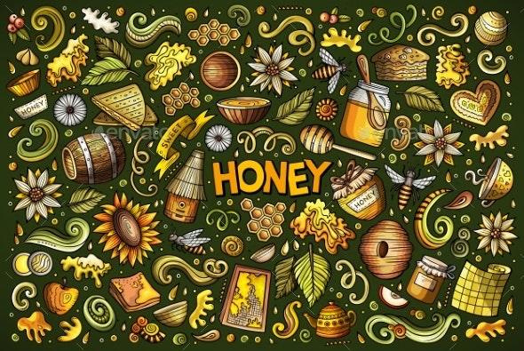 Vector Cartoon Set of Honey Theme Objects - Food Objects