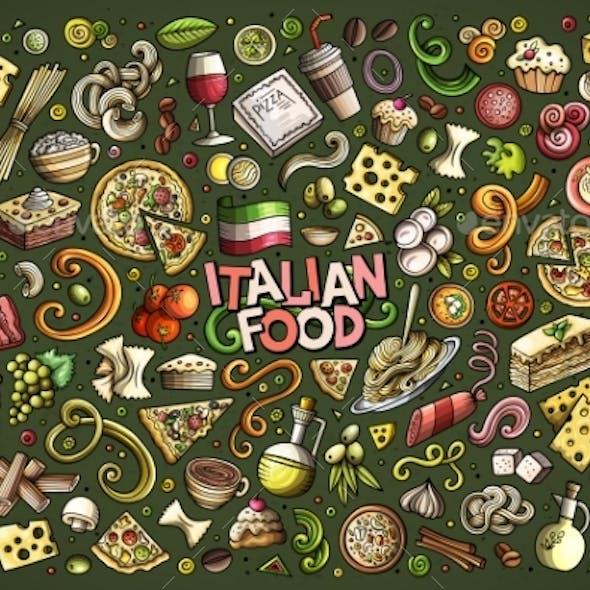 Vector Hand Drawn Doodle Cartoon Set of Italian