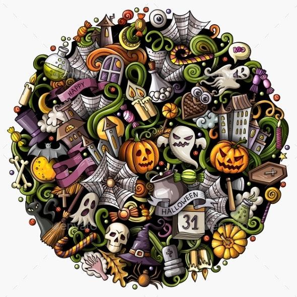 Cartoon Vector Doodles Happy Halloween - Miscellaneous Vectors