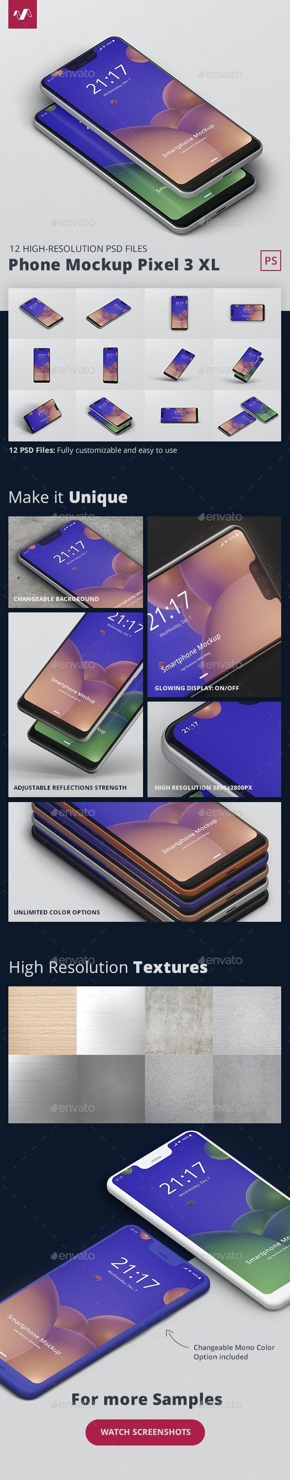 Smart Phone Mockup Pixel 3 XL - Mobile Displays