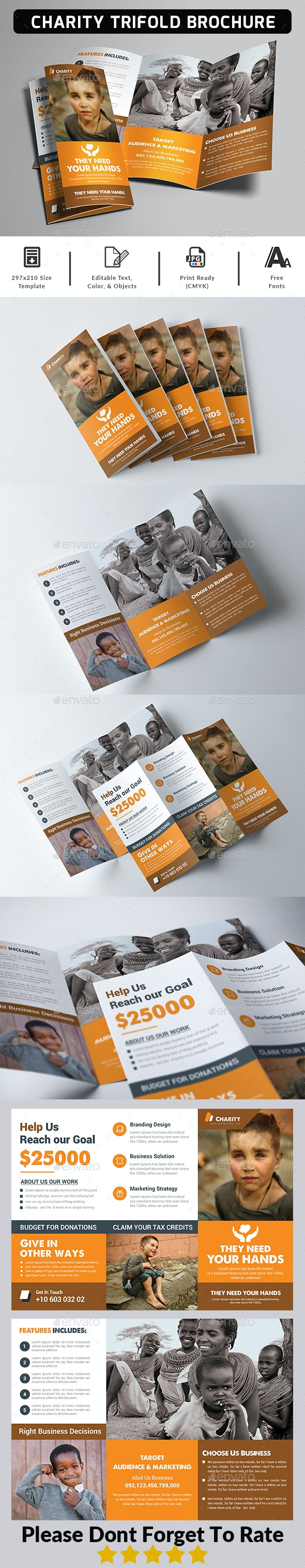 Charity Fundraisers Trifold Brochure - Corporate Brochures